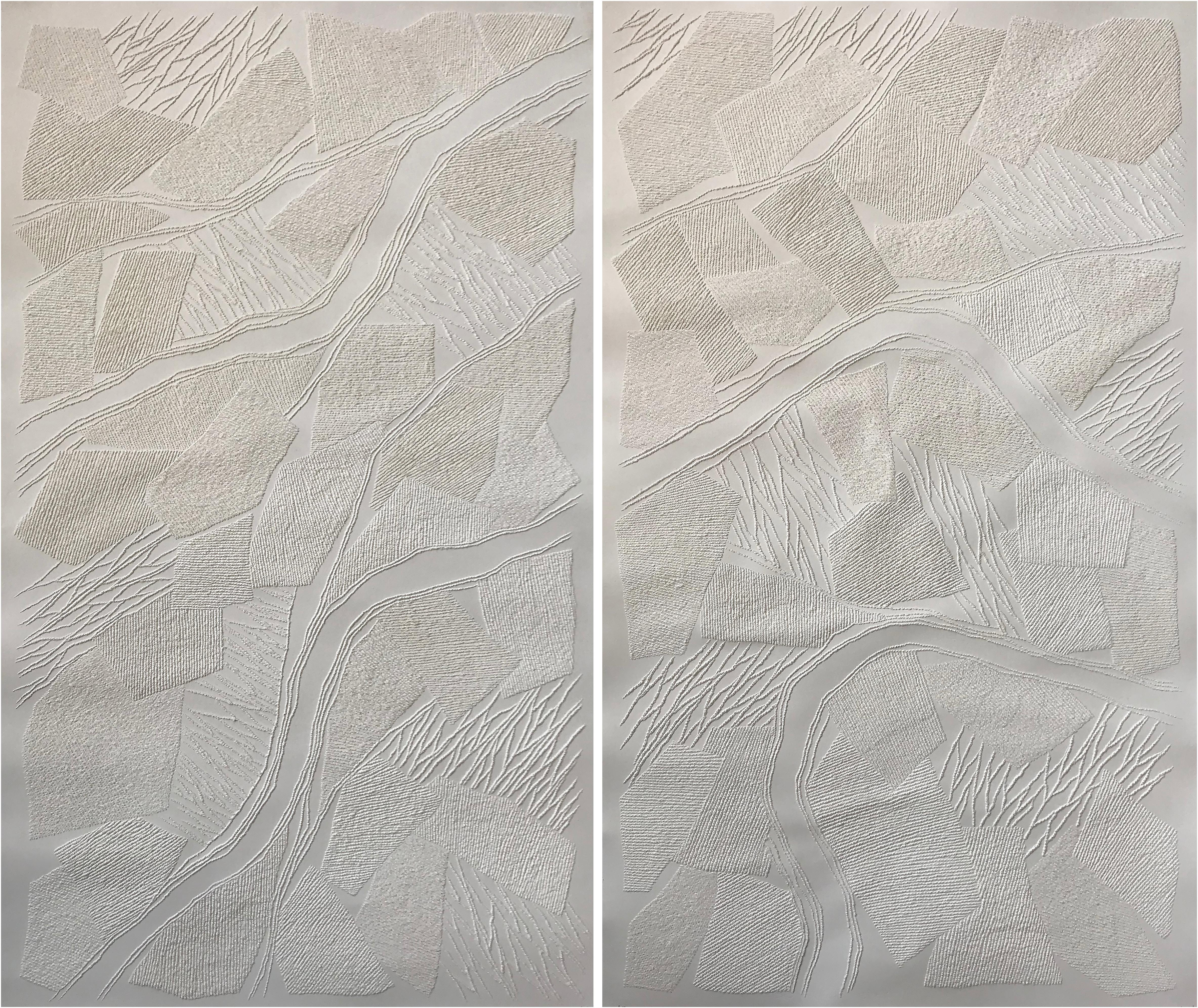Dyptich 1 - intricate beige 3D abstract geometric drypoint drawing on paper