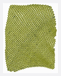 Woven lines 20- abstract geometric green dominant ink drawing on paper