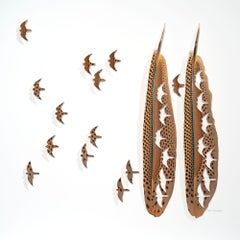 Free nature - brown bird feather 3D wall sculpture collage on paper