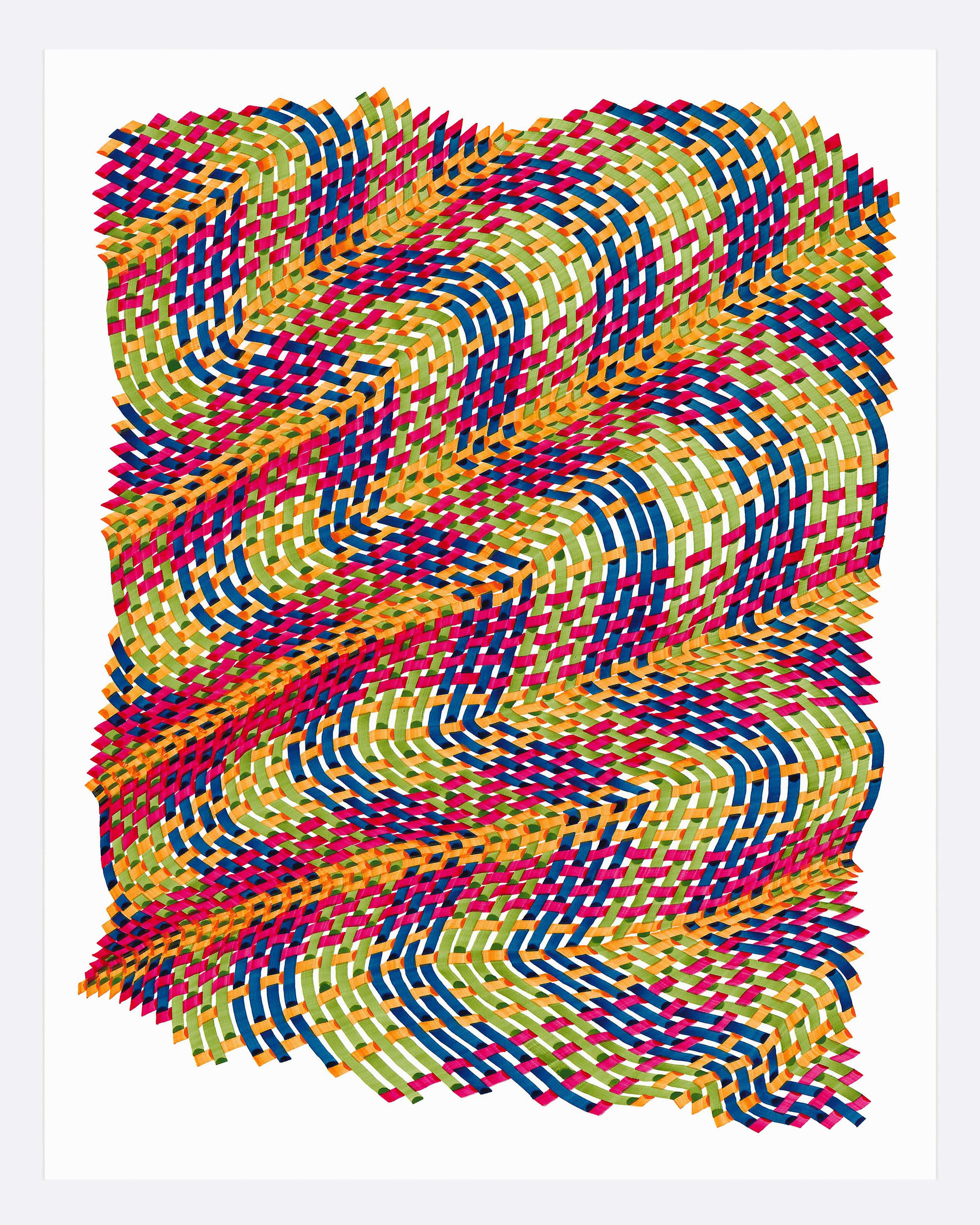 Woven lines 28- abstract geometric green yellow red color ink drawing on paper