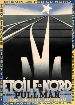Original Vintage Art Deco Design Etoile Du Nord Pullman French Railway Poster
