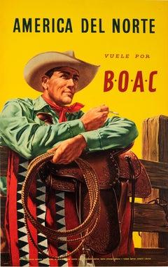Original Vintage BOAC Travel Poster For North America Del Norte Vuele Por BOAC