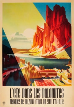 Original Vintage ENIT Summer Travel Poster For The Dolomites Bolzano Tyrol Italy