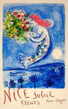 Original Vintage Travel Poster For Nice Soleil Fleurs Marc Chagall Sun Flowers