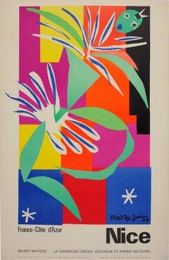 Original Vintage Nice Cote D'Azur Travel Poster La Danseuse Creole Musee Matisse