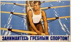 Original Vintage Soviet Sport Propaganda Poster Practice Rowing Ft Crew Training