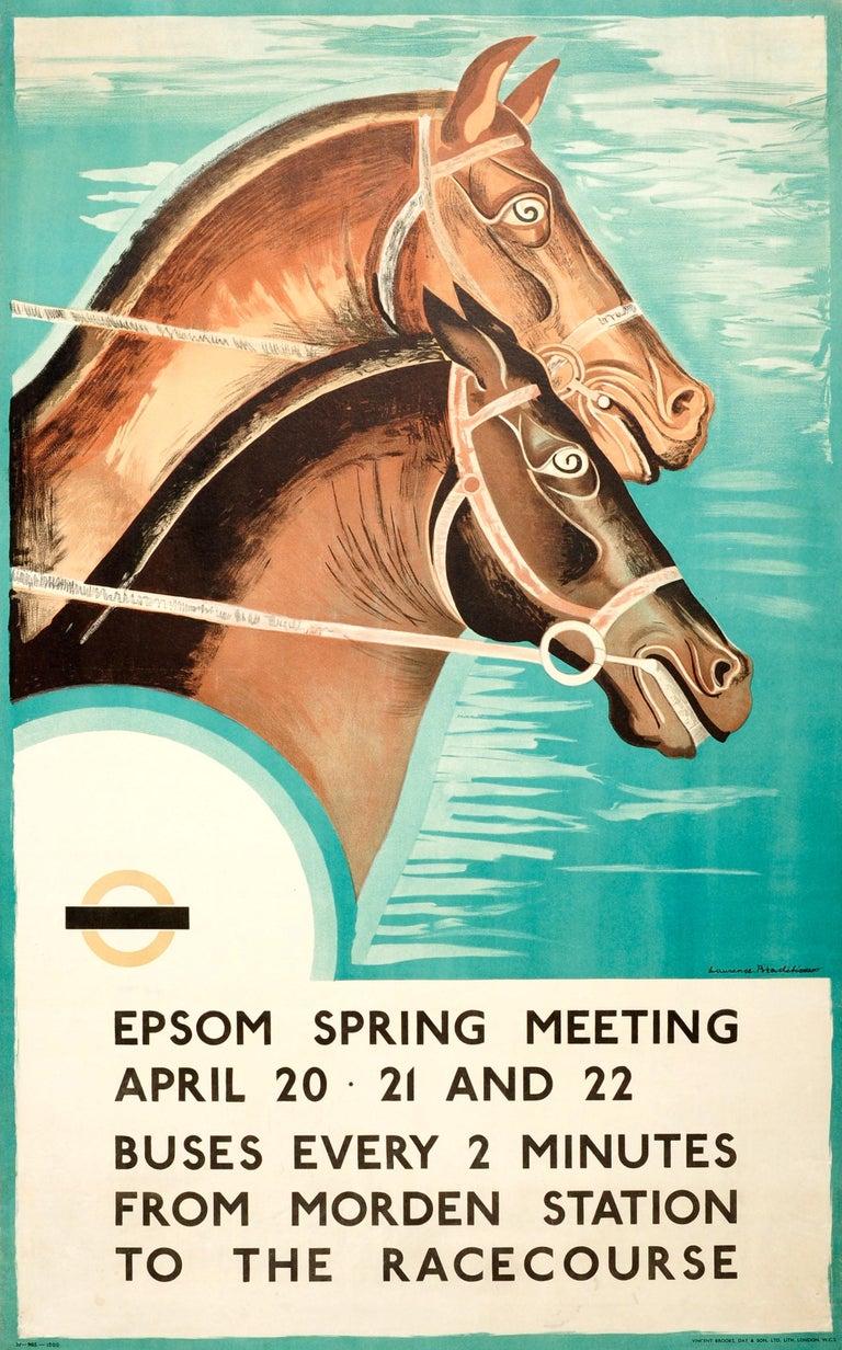 Laurence Bradshaw Print - Original 1935 Art Deco London Transport Horse Racing Poster Epsom Spring Meeting