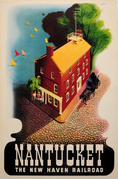 Original Vintage Poster For Nantucket The New Haven Railroad Ft. 1772 Courthouse