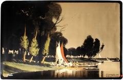 Original Antique London Underground Poster Teddington 1914 Sailing River Thames