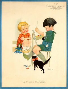 Original Vintage Galeries Lafayette Poster The Worldly Painter Ft Children & Cat