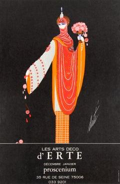 Original Vintage Decorative Art Deco Style Poster For Erte Exhibition Proscenium