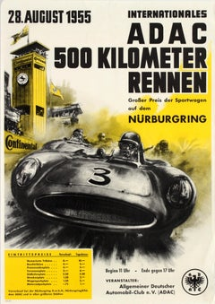 Original Vintage ADAC 500Km Nurburgring Car Racing Poster German Automobile Club