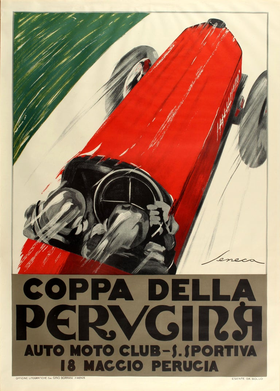 Federico Seneca Print - Large Coppa Della Perugina Sports Car Racing Poster Reissue 1990s Art Deco Style