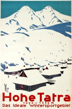 Original Vintage Winter Sports Ski Poster Hohe Tatra High Tatras Czechoslovakia