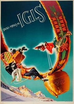 Original Vintage Igls Tyrol Ski Poster Mountain Resort Skiers And Dog On Cowbell
