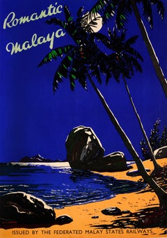 Original Vintage FMS Railway Travel Poster Romantic Malaya / Malaysia Singapore