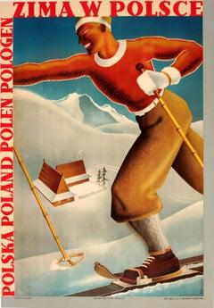 Original Vintage Art Deco Winter Sport Ski Poster Winter In Poland Zima W Polsce