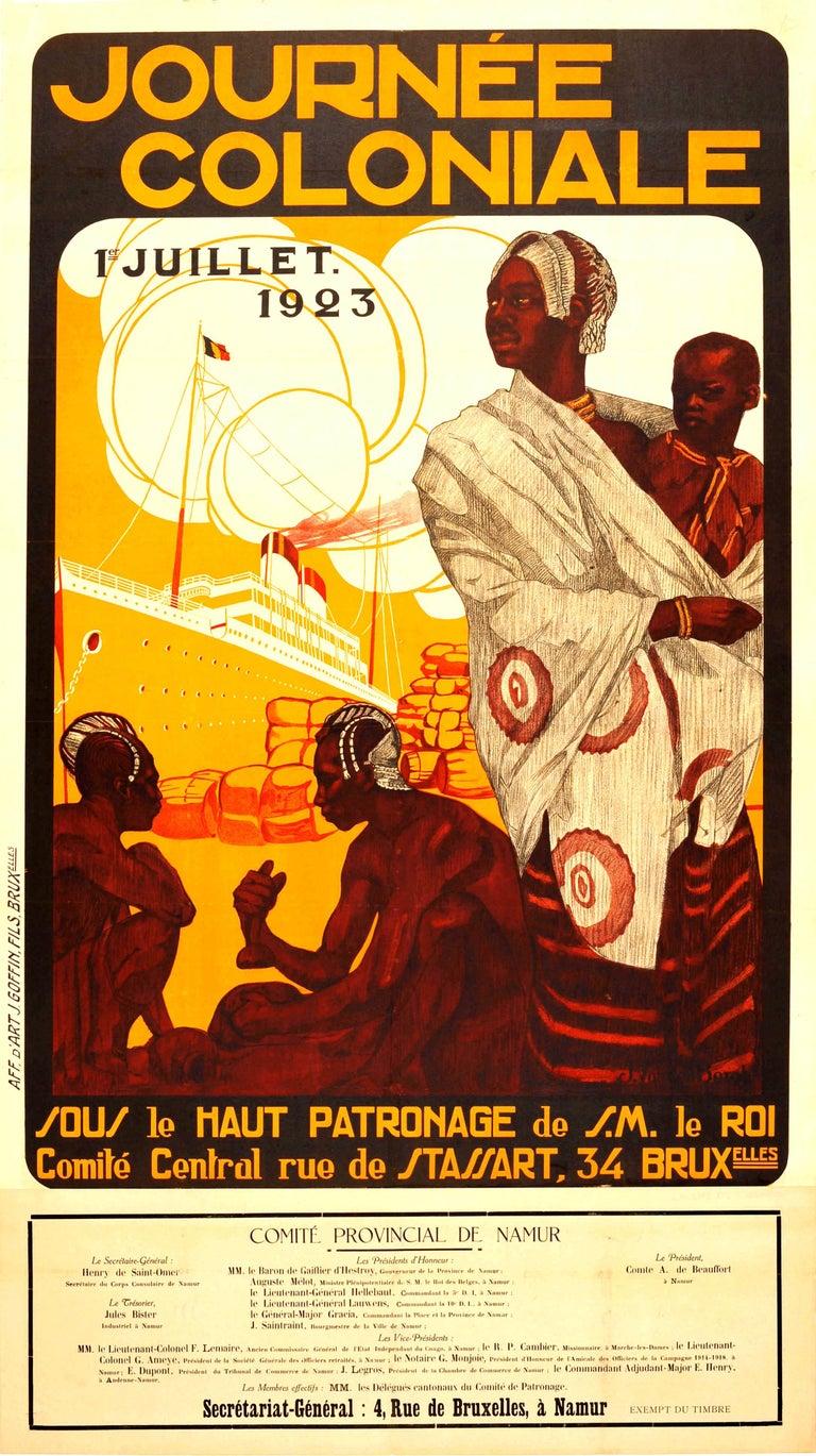 Joop Van Den Bergh Print - Original Vintage Journee Coloniale Poster Colonial Day Ft African Mother & Child