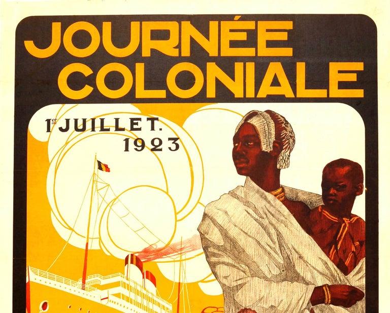Original Vintage Journee Coloniale Poster Colonial Day Ft African Mother & Child - Print by Joop Van Den Bergh
