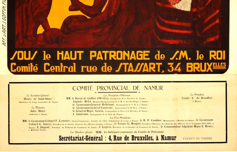 Original vintage poster for the Journee Coloniale 1 Juillet 1923 / Colonial Day 1 July 1923 featuring a great illustration of an African mother holding her young child with two men sitting beside them and a large steamship by cargo on the dock in
