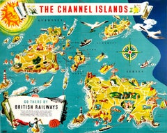 Original Vintage British Railways Poster Illustrated Map Of The Channel Islands