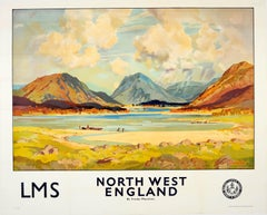 Original Vintage LMS Railway Poster North West England Buttermere Lake District