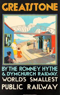 Original Vintage Art Deco Romney Hythe & Dymchurch Railway Poster Greatstone Stn