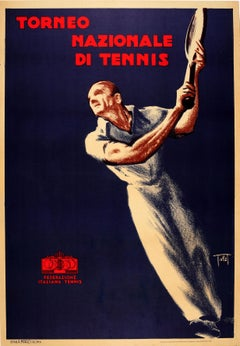 Original Vintage Art Deco Style Sport Poster Torneo Nazionale Di Tennis Italy