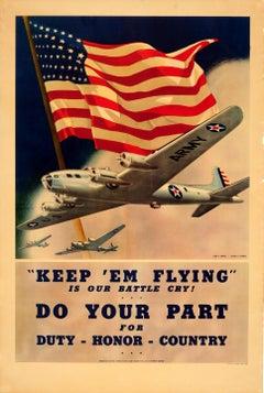 Original Vintage American World War Two Army Poster US Air Force Keep 'em Flying