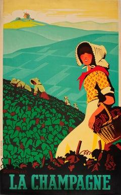 Original Vintage Travel Poster For La Champagne Wine Region France Vineyard View