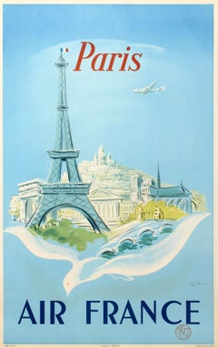 Original Vintage Air France Poster Paris Ft. Eiffel Tower Lockheed Constellation