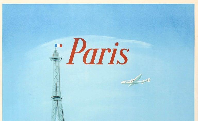 Original Vintage Air France Poster Paris Ft. Eiffel Tower Lockheed Constellation - Print by Regis Manset