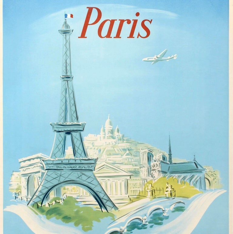 Original Vintage Air France Poster Paris Ft. Eiffel Tower Lockheed Constellation - Blue Print by Regis Manset