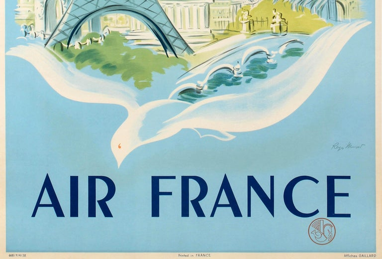 Original vintage travel poster for Paris by Air France featuring a great design depicting the Eiffel Tower and other historic buildings and architecture in the French capital on the back of a white bird with an Air France Lockheed Constellation