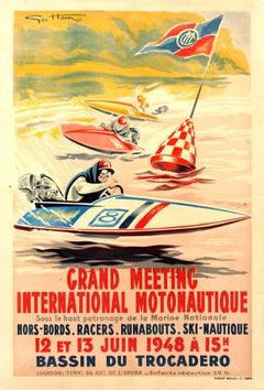 Original Vintage Water Sport Poster For Grand Meeting International Motonautique