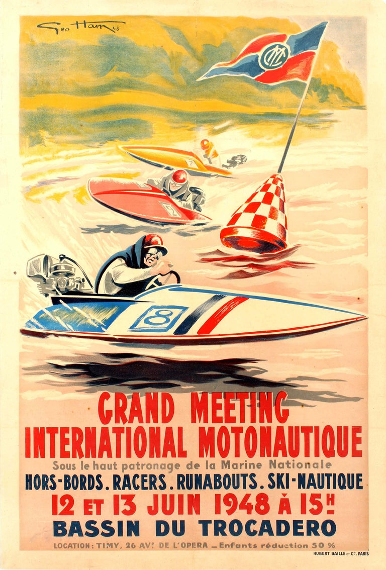 Geo Ham Print - Original Vintage Water Sport Poster For Grand Meeting International Motonautique