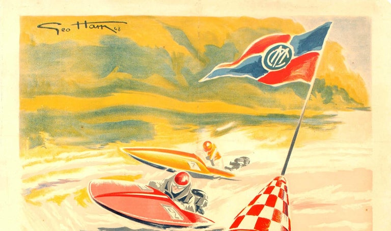Original Vintage Water Sport Poster For Grand Meeting International Motonautique - Print by Geo Ham