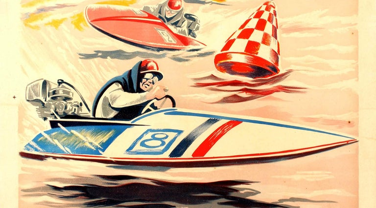 Original Vintage Water Sport Poster For Grand Meeting International Motonautique - Orange Print by Geo Ham