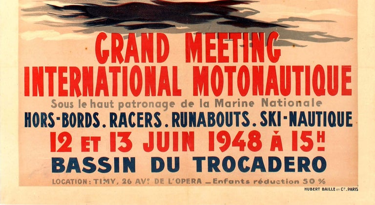 Original vintage water sport poster for the Grand Meeting International Motonautique held on 12 and 13 June 1948 at the Bassin Du Trocadero featuring a dynamic illustration by Geo Ham (Georges Hamel; 1900-1972) of speed boats racing around a
