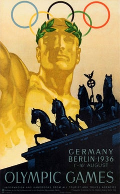 Original Vintage Summer Olympics Sport Poster 1936 Olympic Games Berlin Germany