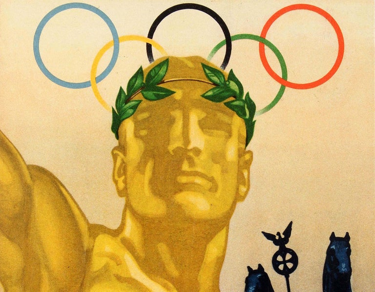 Original Vintage Summer Olympics Sport Poster 1936 Olympic Games Berlin Germany - Print by Franz Wurbel