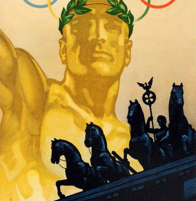 Original Vintage Summer Olympics Sport Poster 1936 Olympic Games Berlin Germany - Orange Print by Franz Wurbel