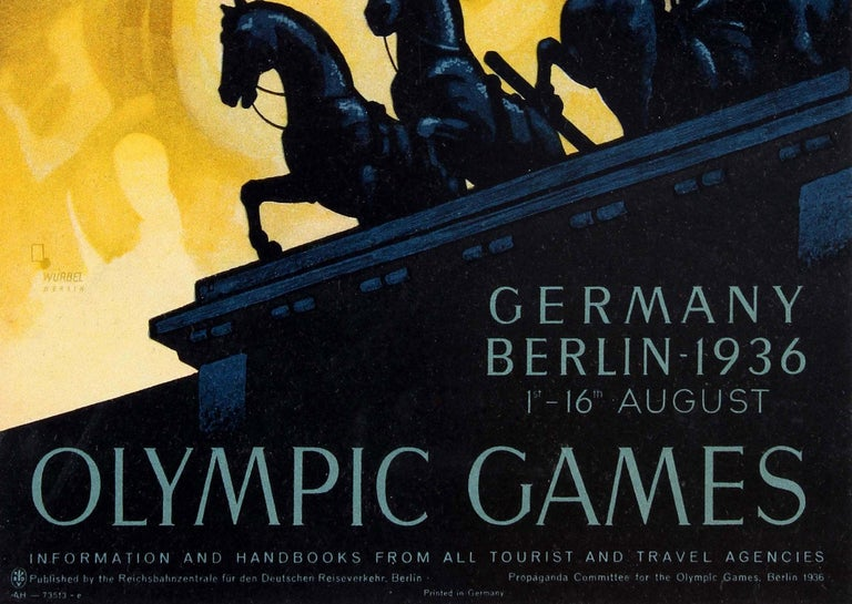 Original vintage Summer Olympic Games poster for the 1936 Olympic Games held in Berlin from 1-16 August, published by the Reichsbahnzentrale fur den Deutschen Reiseverkehr (German Railways Head Office for Tourist Traffic) and the Propaganda