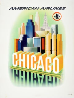 Original Vintage Travel Poster American Airlines Chicago City Skyline AA Eagle