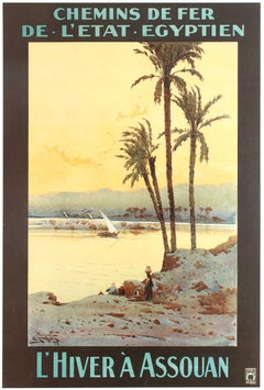 Original Antique Railway Travel Poster Winter In Aswan Egypt River Nile Assouan