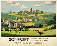 Original Vintage British Railways Poster Somerset Holiday County Infinite Charm