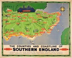 Original Vintage British Railways Poster Map Counties Coastline Southern England
