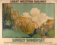 Original Vintage Great Western Railway Poster Lovely Somerset Cheddar Gorge GWR
