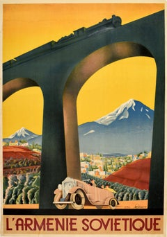 Original Vintage Art Deco Intourist Poster Soviet Armenia Ft Classic Car & Train