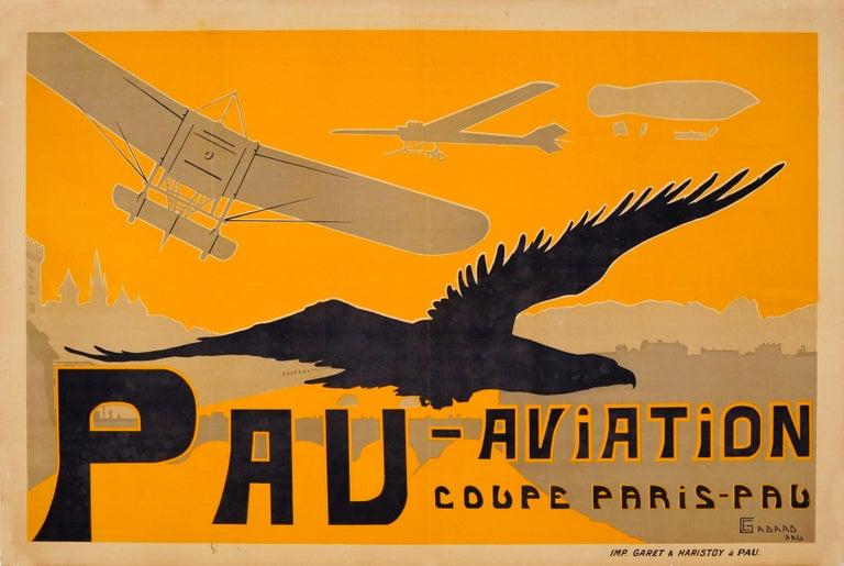 Ernest Gabard Print - Original Antique Pau Aviation Poster Race Coupe Paris Pau Airfield Flying School